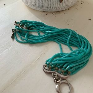 Turquoise and sterling cascade bracelet